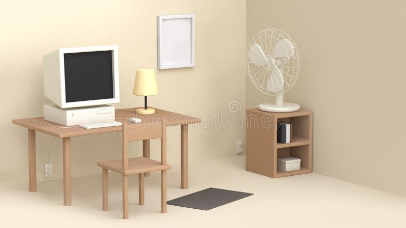 奶油色工作室桌计算机爱好者许多对象动画片样式3d翻译 向量例证