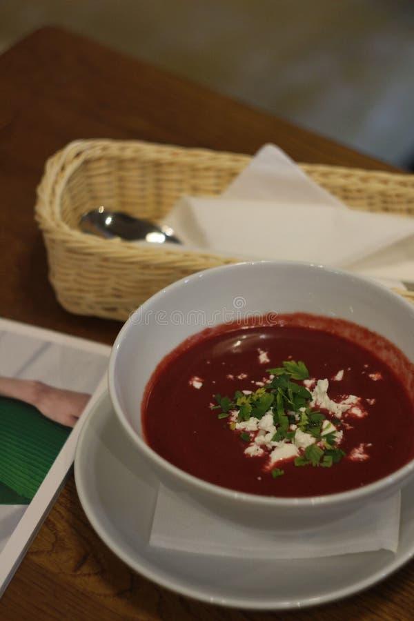 奶油色汤照片用甜菜和山羊乳干酪 免版税库存图片