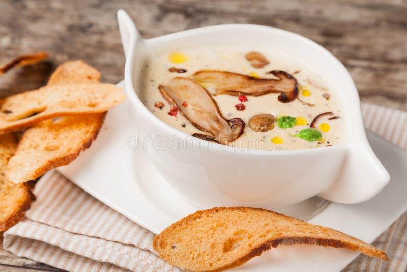 奶油色蘑菇汤 免版税库存照片