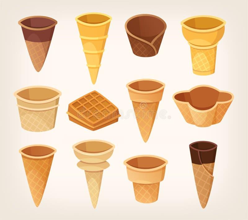 奶蛋烘饼杯子和锥体的变异冰淇淋的 免版税库存图片