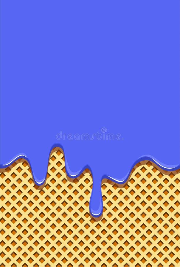奶蛋烘饼背景充满甜蓝色釉 水平地排泄在奶蛋烘饼热的釉 向量例证