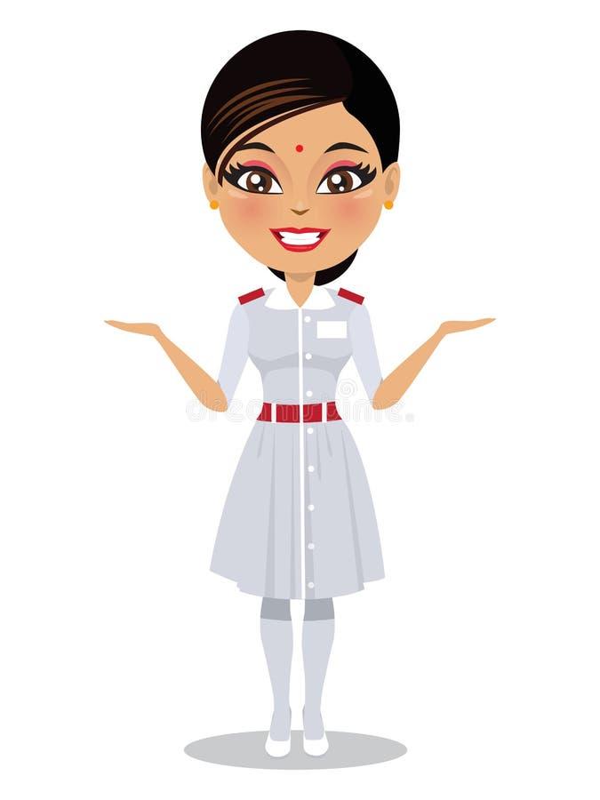 她制服微笑的印度亚裔护士 向量例证