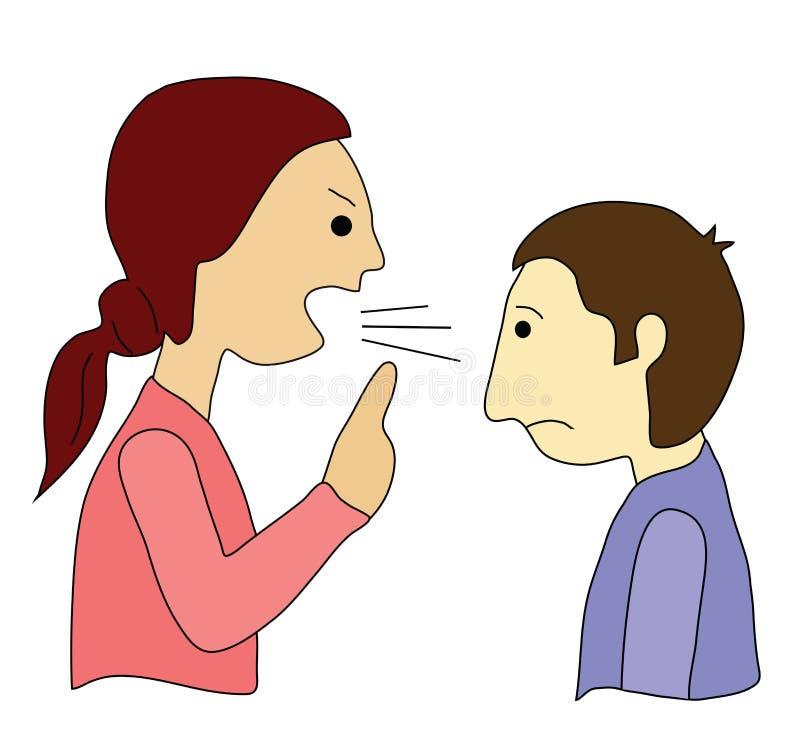 她尖叫,他是沈默的! 向量例证