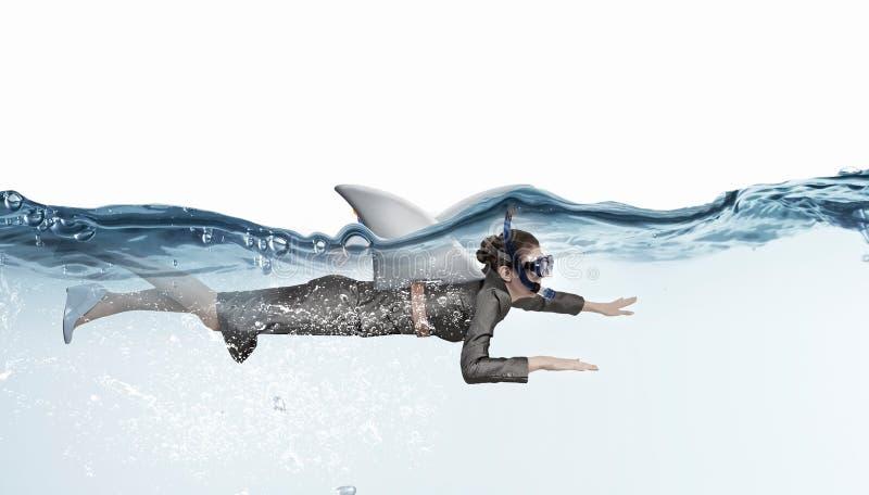 她是危险的象鲨鱼 混合画法 库存图片
