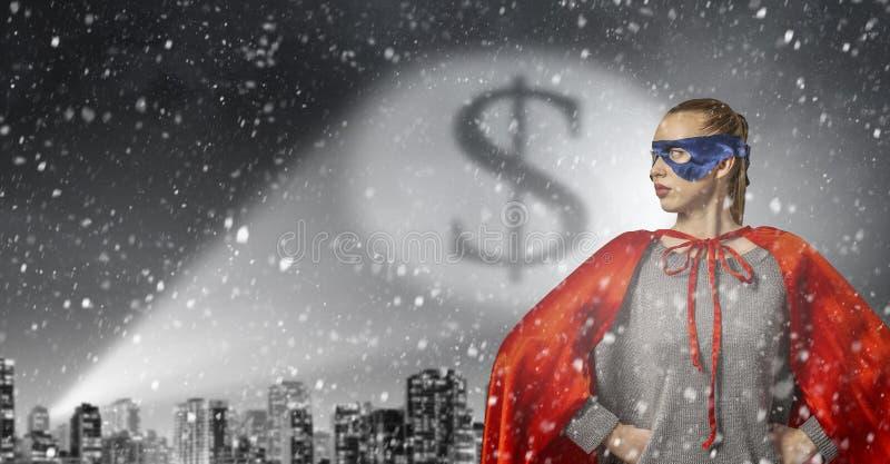 她是特级英雄 混合画法 免版税库存照片
