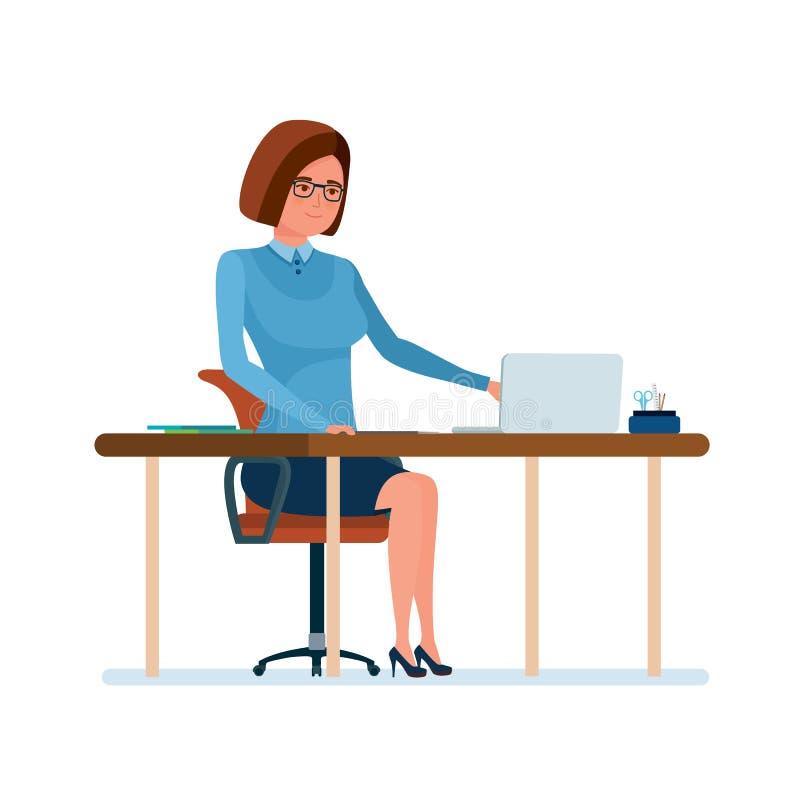 她的书桌的年轻老师,运转在有文件的膝上型计算机 皇族释放例证