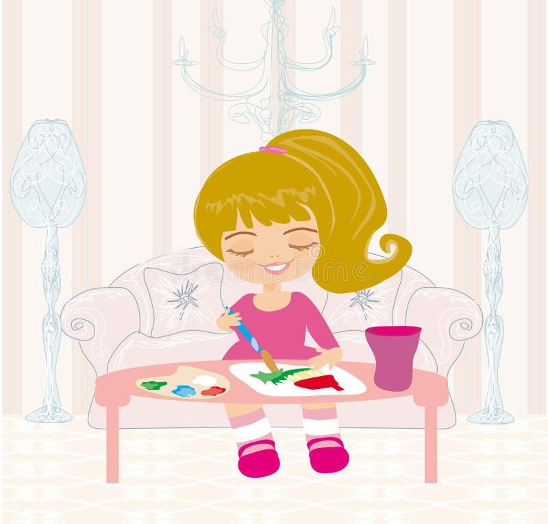绘她的大张纸canva的小女孩梦之家 免版税库存照片