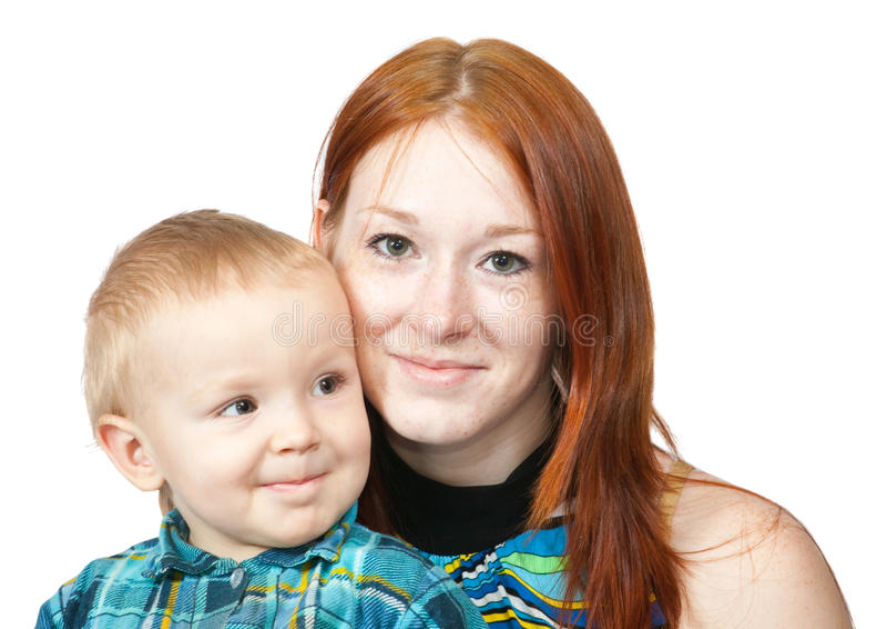 她的母亲儿子 库存图片