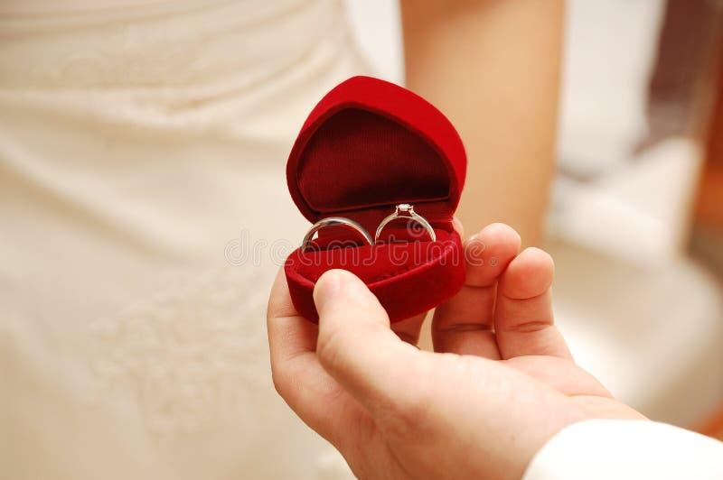 她的环形婚礼 免版税库存照片
