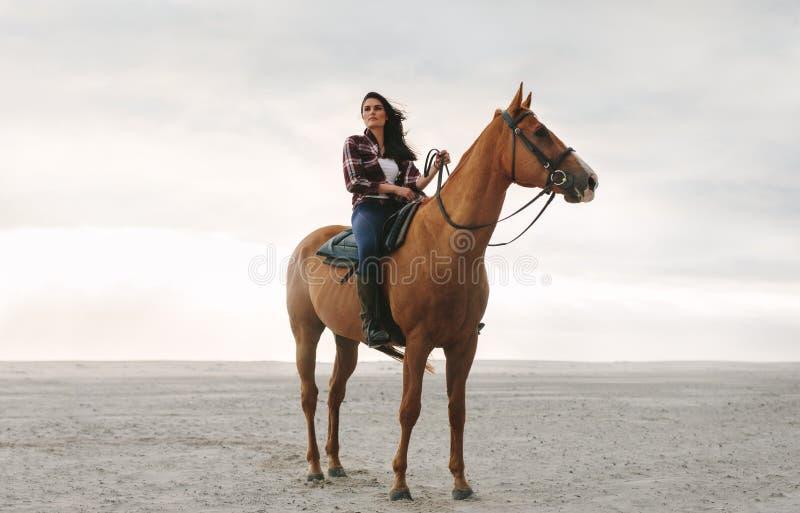 她的马的女性骑马者 免版税库存图片
