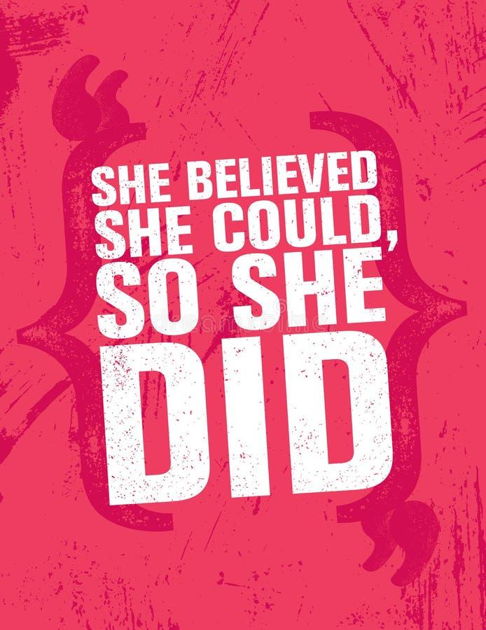 她相信她可能,因此她做了 富启示性的创造性的刺激行情海报模板 传染媒介印刷术横幅 库存例证