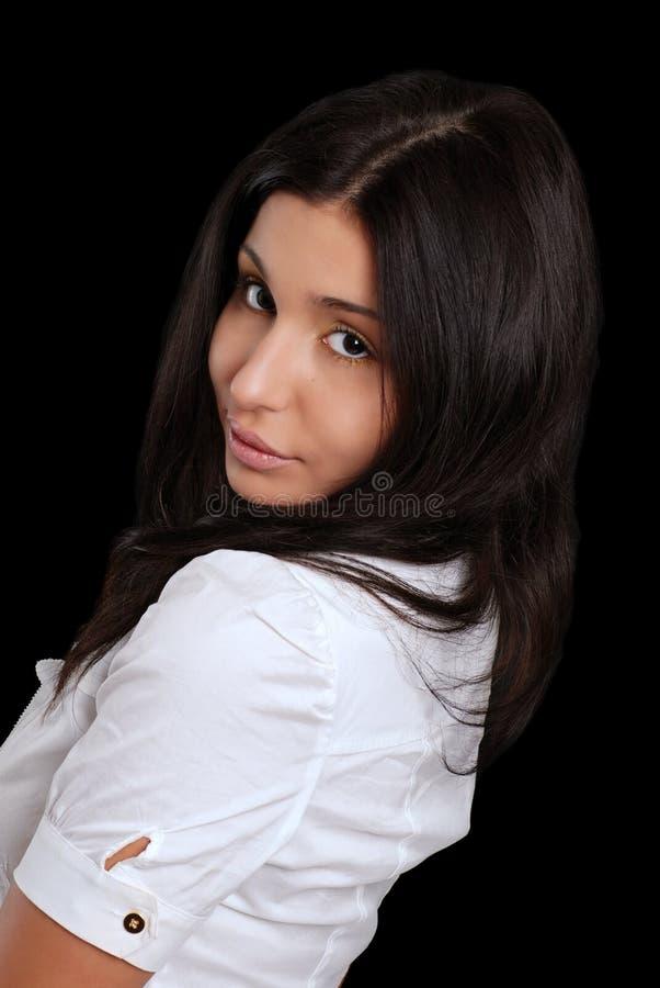 她西班牙查找在肩膀妇女年轻人 库存图片