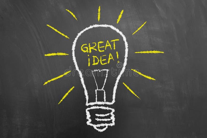 好主意电灯泡在黑板或黑板的粉笔画 向量例证