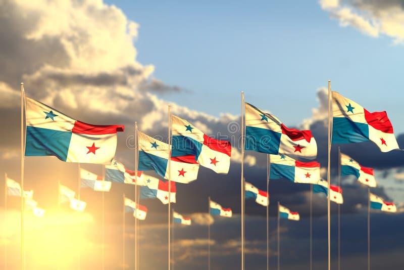 好任何宴餐旗子3d例证-在与软的焦点的内容的行和空间安置的日落的许多巴拿马旗子 库存例证
