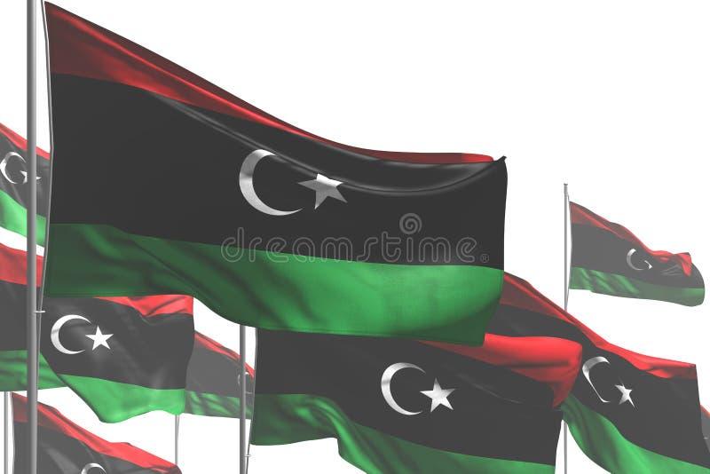 好在白是挥动隔绝的许多利比亚旗子所有场合旗子3d例证 向量例证