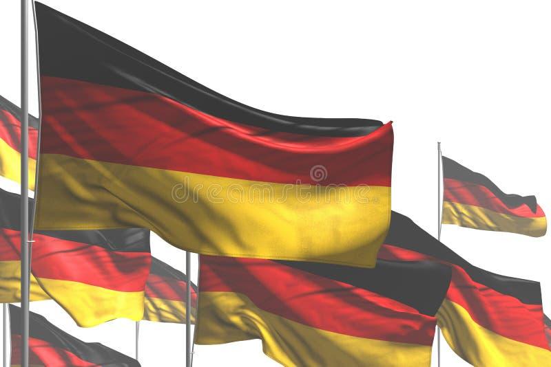 好在白是挥动隔绝的许多德国旗子所有假日旗子3d例证 向量例证