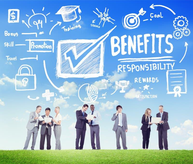好处获取赢利收入收入营业通讯Conce 免版税库存图片