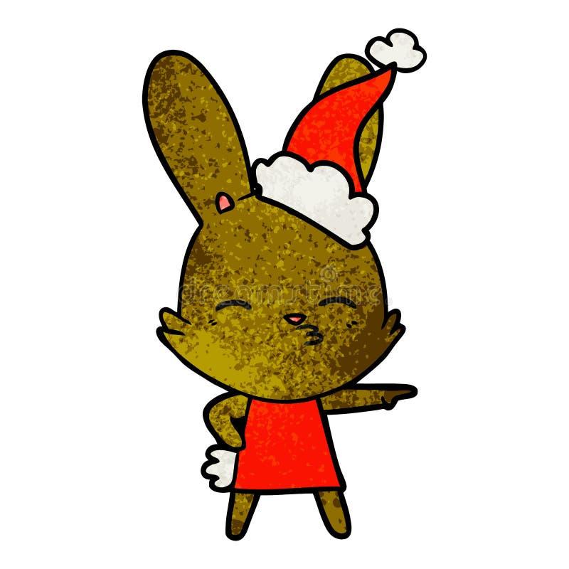 好奇一个佩带的圣诞老人帽子的兔宝宝织地不很细动画片 向量例证