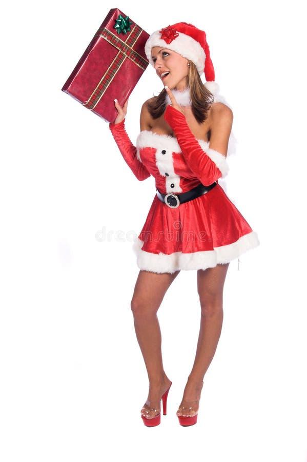 好奇矮子s圣诞老人 图库摄影