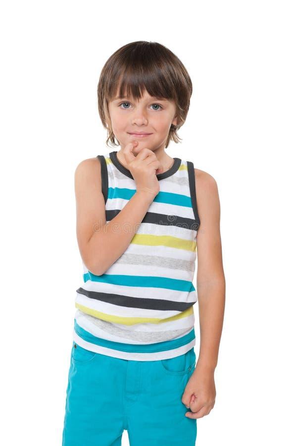 好奇聪明的小男孩 库存照片