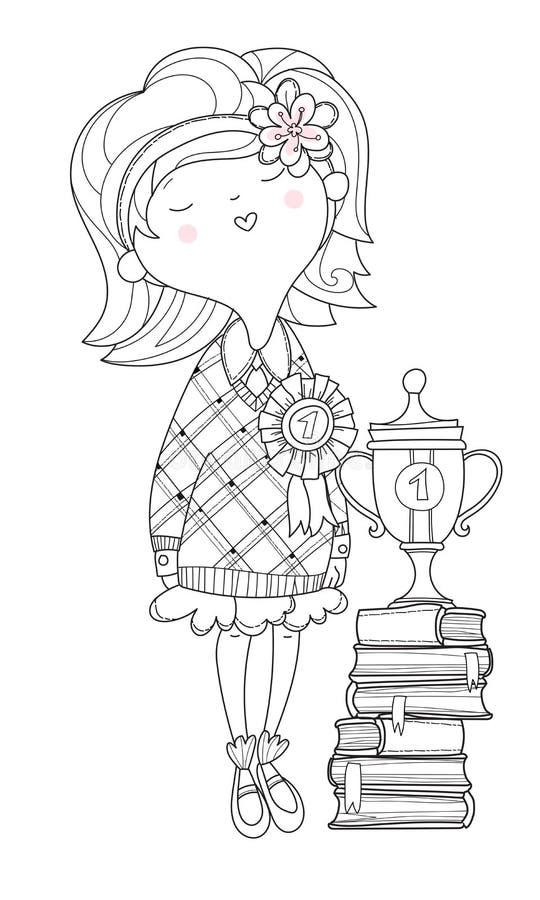 好女孩女小学生优胜者 皇族释放例证