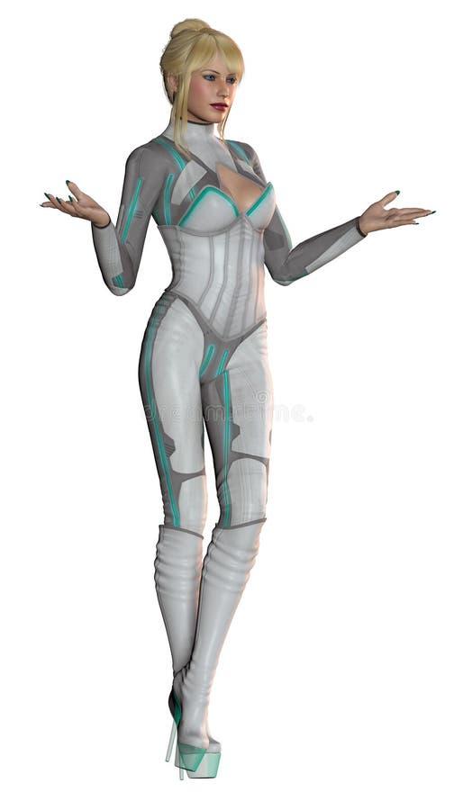 好女孩,有未来派衣服,灰色和绿色的,与高跟鞋起动,金发,3d例证 库存例证