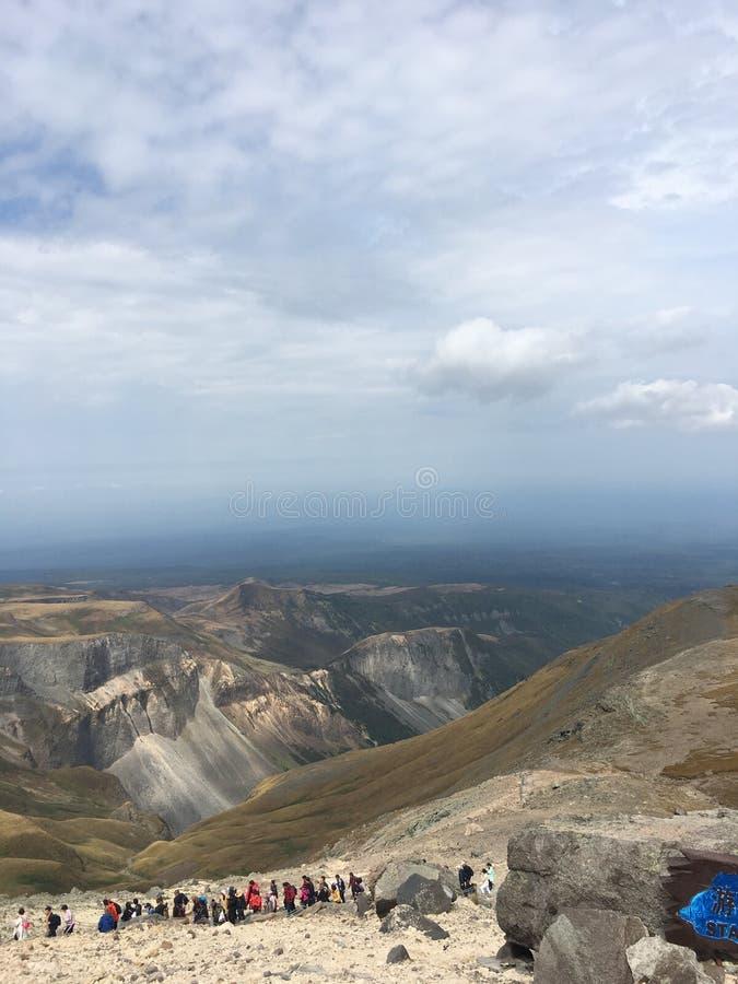 好山顶视图和风景在长白山 库存图片