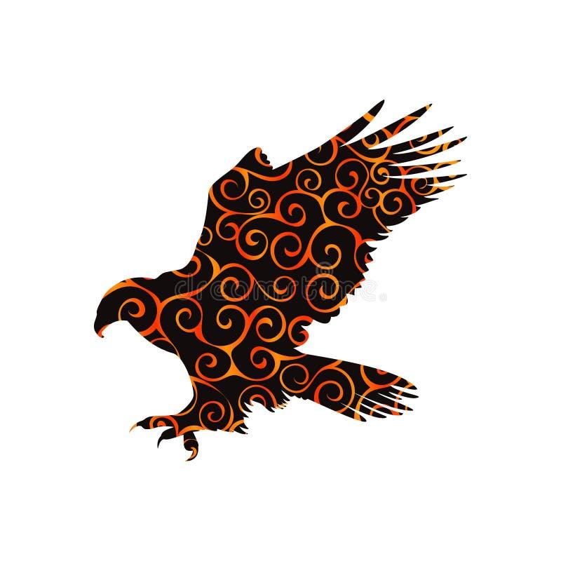 好战老鹰猎鹰鸟螺旋样式颜色剪影动物 库存例证