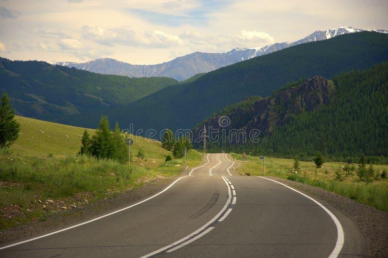 好柏油路绕通过山 格尔尼阿尔泰,俄罗斯共和国 ?? 免版税库存图片