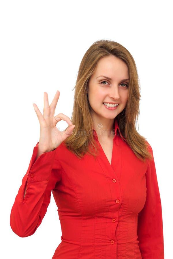 给好标志的妇女 免版税库存图片