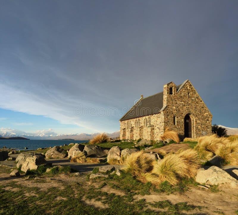 好牧羊人的历史教会,特卡波湖,新西兰 库存图片