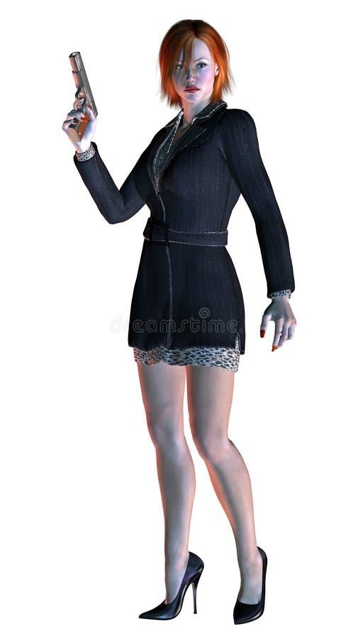 好白肤金发的女孩,典雅的夫人,武装用枪, 3d例证 库存例证