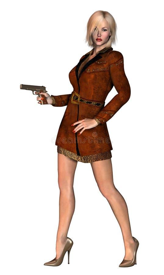 好白肤金发的女孩,典雅的夫人,武装用枪, 3d例证 向量例证