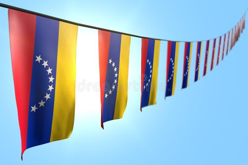好的假日旗子3d例证-垂悬在串的许多委内瑞拉旗子或横幅对角线在与软的天空蔚蓝背景 向量例证