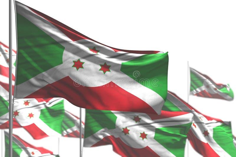好的劳动节旗子3d例证-许多布隆迪旗子是在与bokeh的白的例证隔绝的波浪 向量例证