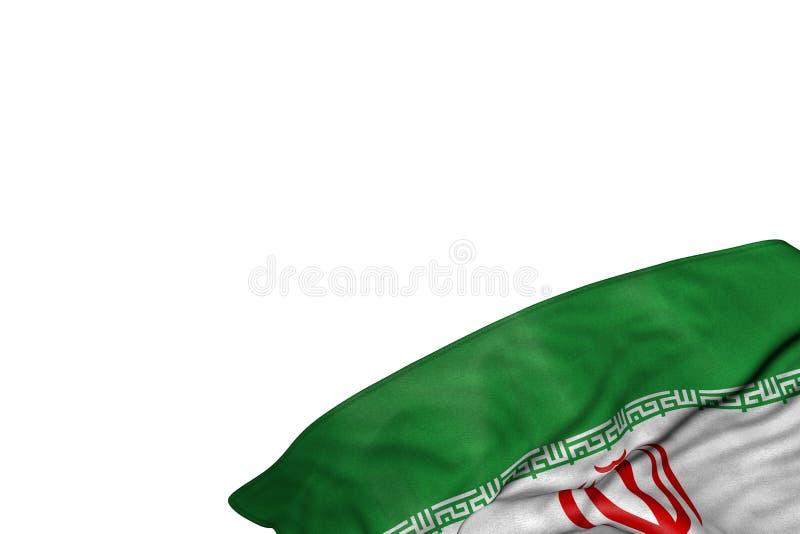 好的国庆节旗子3d例证-与在右下角的大折叠的伊朗旗子隔绝在白色 库存例证