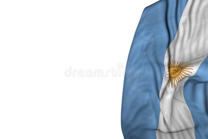 好的国庆节旗子3d例证-与平展在左边的大折叠的阿根廷旗子隔绝在白色 皇族释放例证