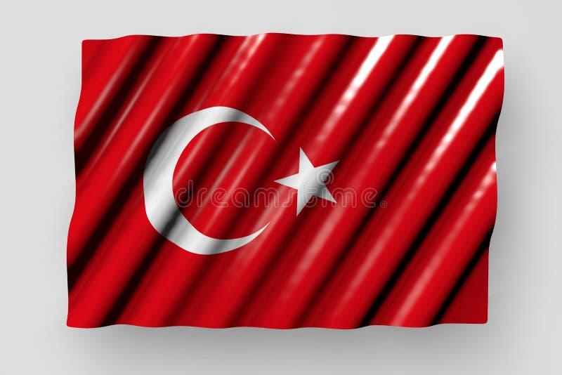 好的国庆节旗子3d例证-在灰色有大折叠说谎的隔绝的土耳其的光滑的旗子 库存例证