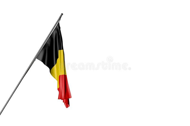 好的国庆节旗子3d例证-比利时旗子在白色隔绝的一根壁角杆垂悬 库存例证
