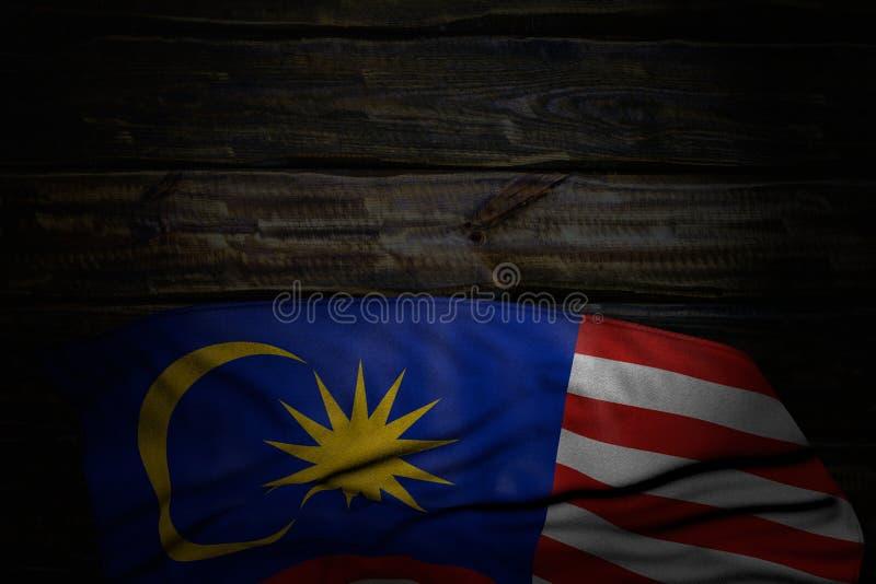 好的国庆节旗子3d例证-马来西亚旗子黑暗的照片与大折叠的在与空的空间的老木头为 向量例证