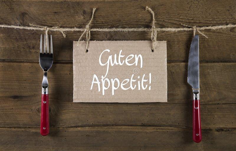 好的妙语胃口或享受您的在德语的膳食 忠告 库存照片
