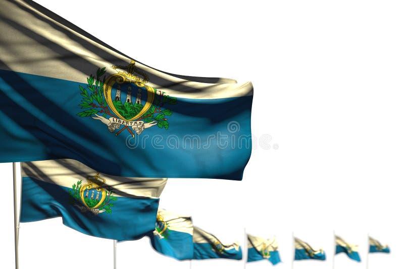 好的庆祝旗子3d例证-圣马力诺隔绝了旗子安置了与选择聚焦的对角,例证和地方 皇族释放例证