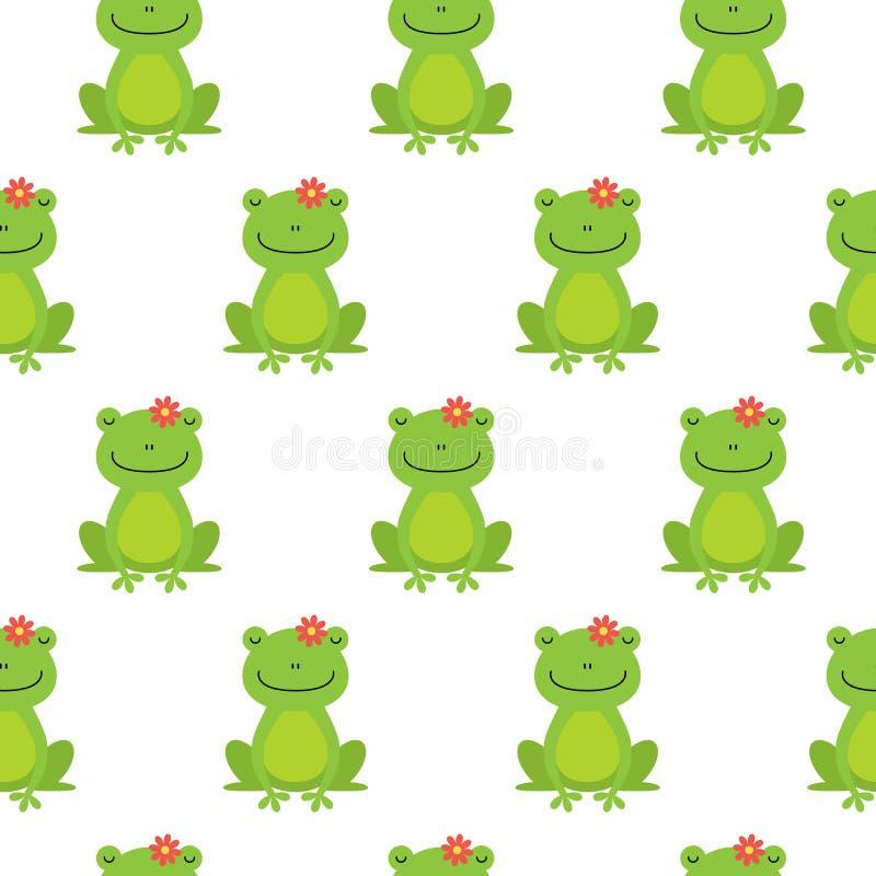 好的愉快的与青蛙和花的动画片无缝的传染媒介样式 向量例证