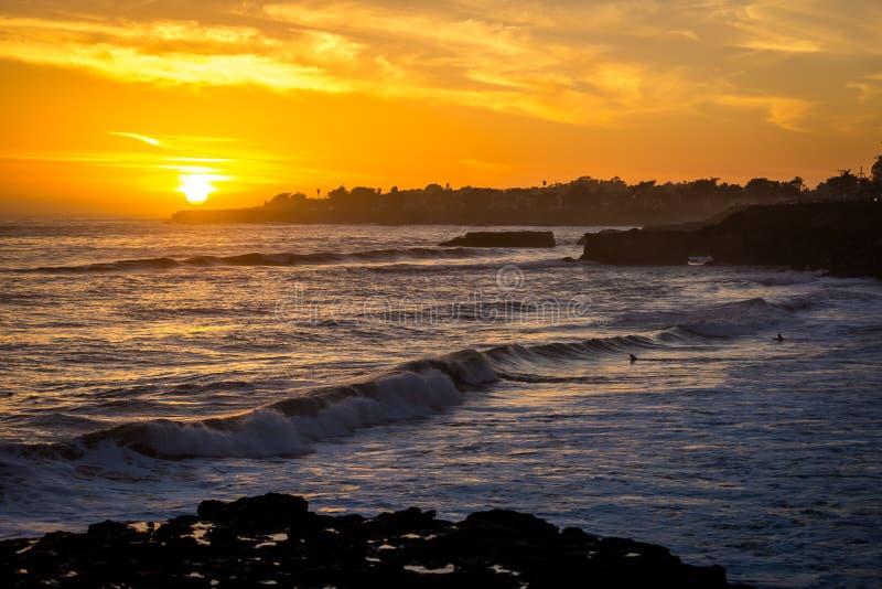 好的日落在圣克鲁斯在加利福尼亚 免版税图库摄影