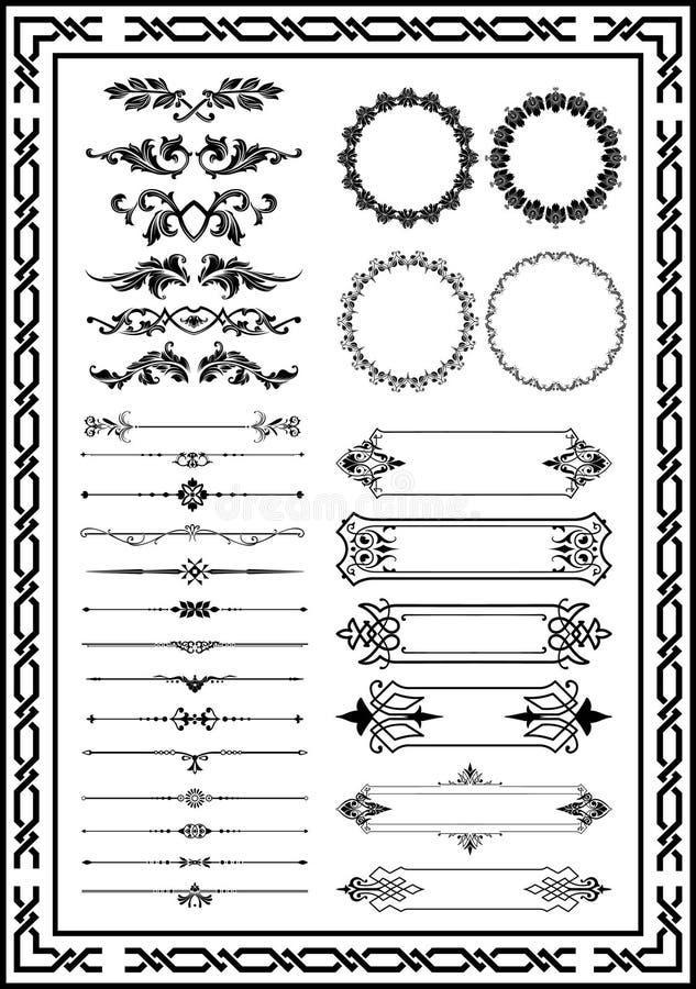 好的是非常适当的集合装饰花卉元素新的颜色黑色 皇族释放例证