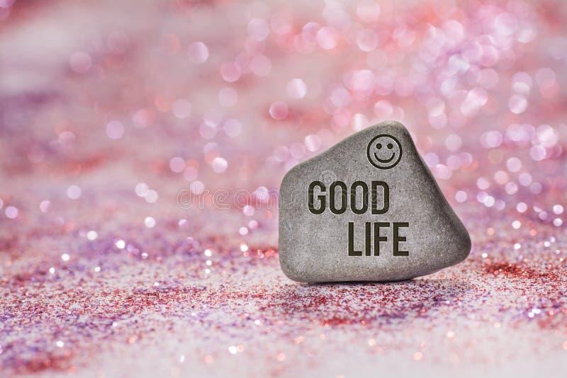 好的生活在石头刻记 库存照片