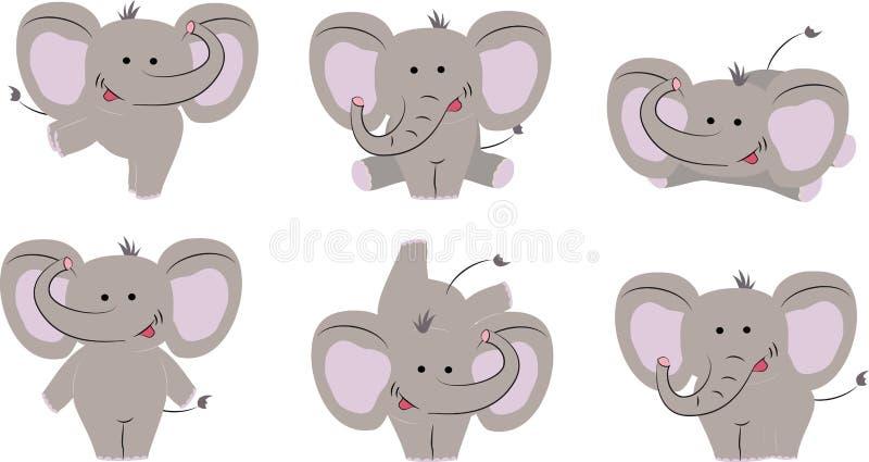 好的逗人喜爱的大象6个姿势  动画片样式 也corel凹道例证向量 库存例证