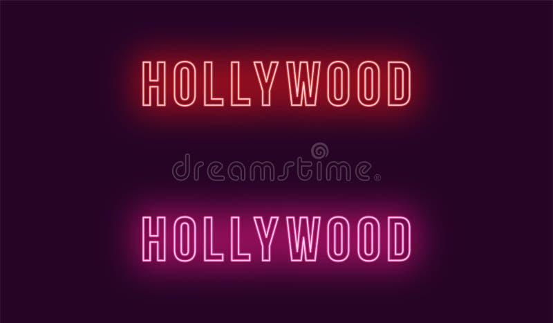 好莱坞区的霓虹名字在洛杉矶 库存例证