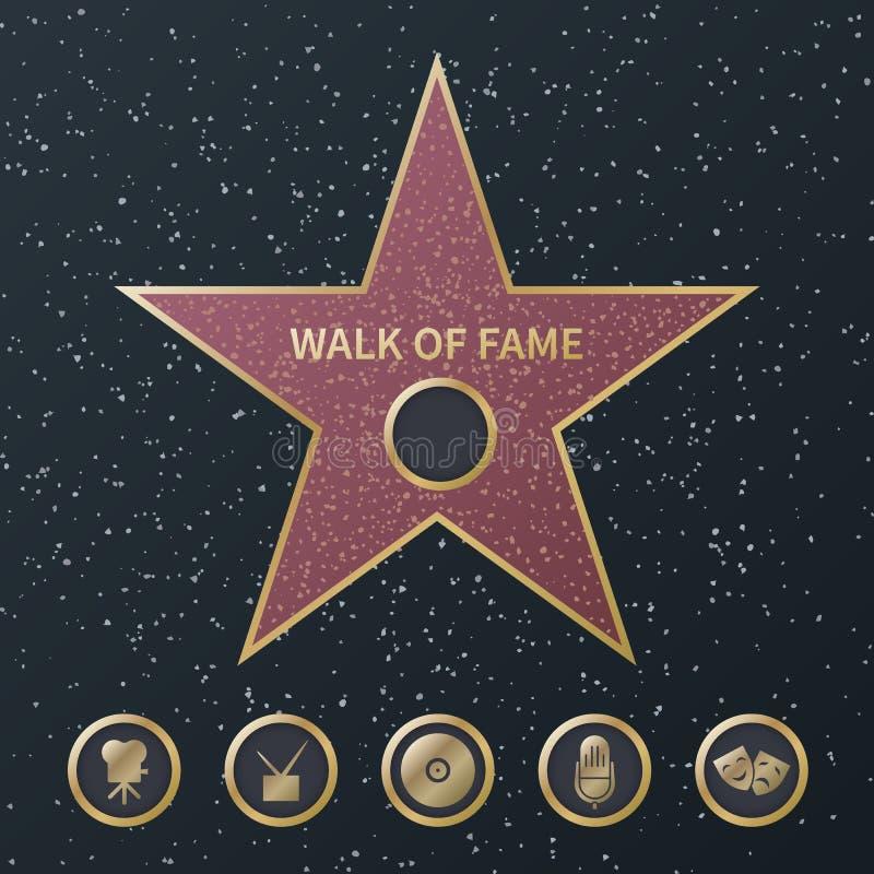 好莱坞名望星 艺术和著名演员金星标志与五个奖电影类别象 名人大道 向量例证
