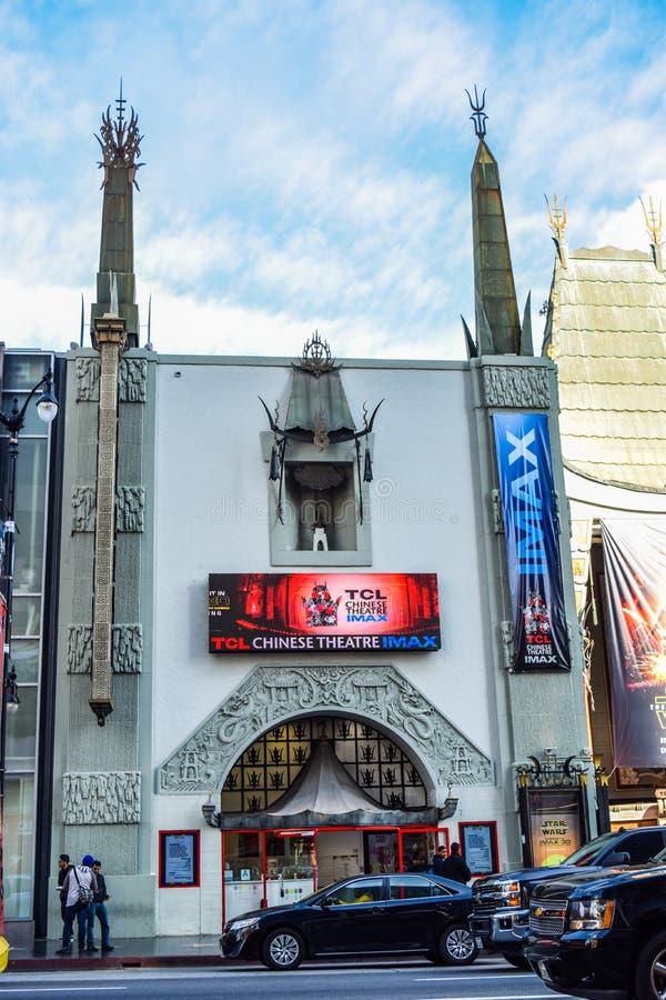 好莱坞大道的好莱坞大道视图Grauman的中国剧院 免版税库存图片